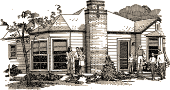 Artists conceptual sketch of the George W. Bush childhood home